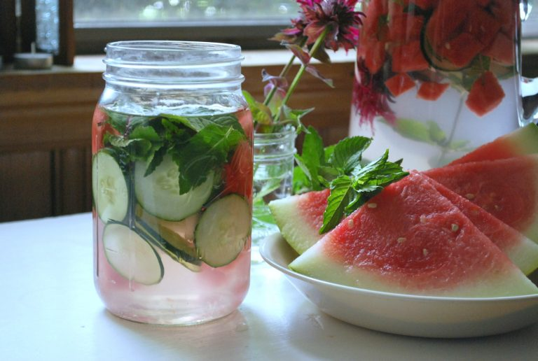 Infused Water with Bee Balm, Watermelon, and Mint