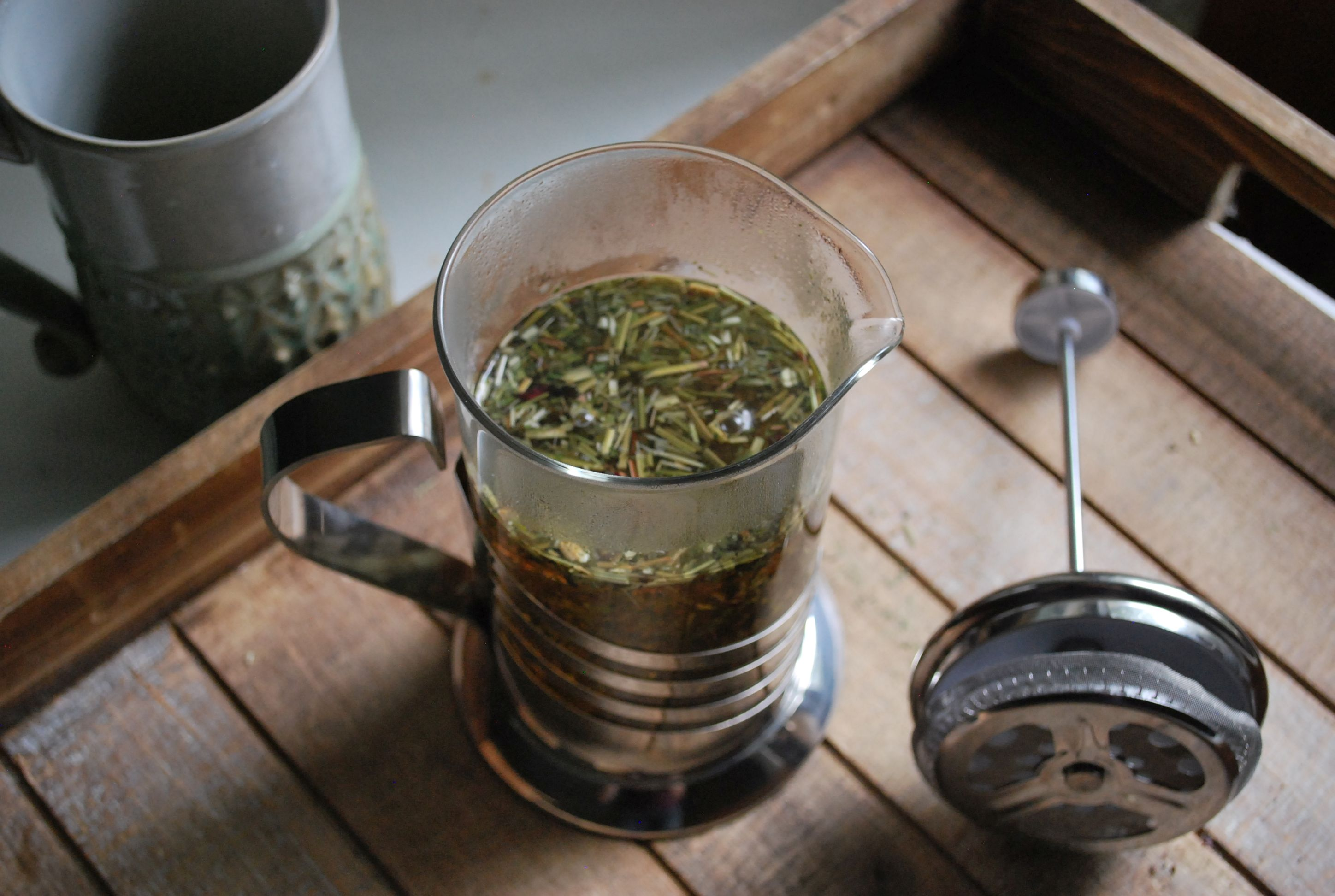 How to use a press pot for making herbal tea.